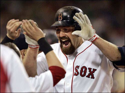 Youkilis was congratulated by his teammates in the dugout. 'It's just funny watching him run,' Pedroia said of Youkilis.