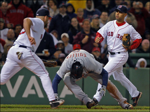 Youkilis showed his versatility by playing both games of the doubleheader against the Tigers. He got only one hit in five at bats, but it was enough to keep the streak alive.
