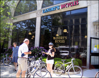 Each bike tour begins at Landry's Bicycle shop on Commonwealth Avenue. Bikers are given a bicycle, helmet, and water bottle for their journey.