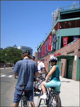 The City View tour, also known as the 'Tour de Boston,' takes bikers on a journey through Boston's historical sights, as well as some of Boston's more unique gems. The tour's first stop is Fenway Park. Here, Urban AdvenTours founder and tour guide Andrew Prescott gives bikers a history of the baseball park.