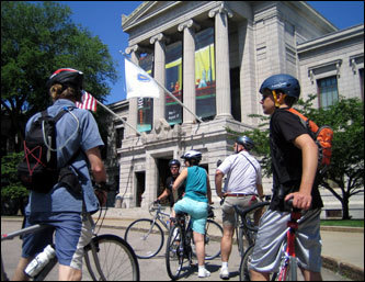 The tour continues through the Fenway gardens, known as the Fens, and brings bikers to the front of the Museum of Fine Arts.