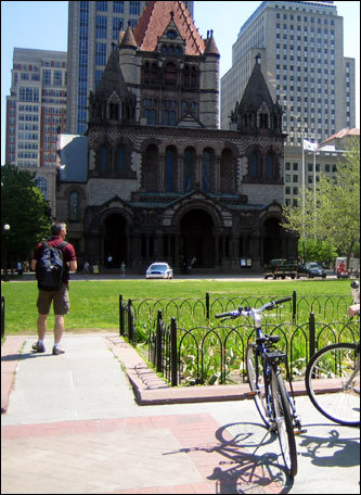 The tour continues through the Copley Square area. Bikers have a chance to take photographs at each stop along the way.