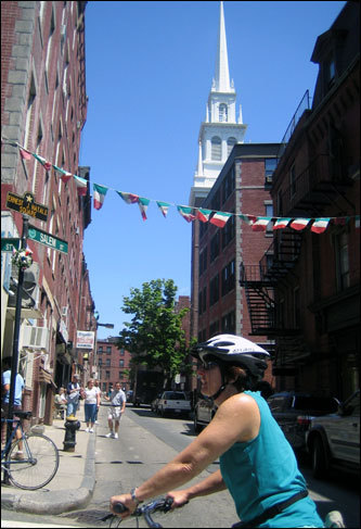 After leaving the Big Dig, Dianne Patterson from Auckland, New Zealand, enjoys the sweet aromas of the North End as she passes the Old North Church and heads through some of the Italian neighborhood's hidden side streets.