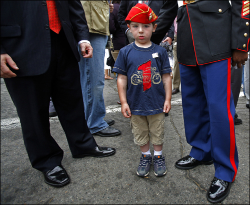Salvatore Malone, 4, son of Swampscott schools superintendent Matthew Malone, attended the dedication of a square to Swampscott resident Marine Capt. Jennifer Harris, who was killed in Iraq in February.