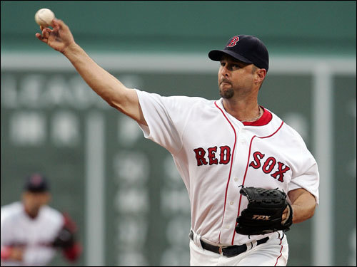 Red Sox starter Tim Wakefield delivered a pitch in the first inning.