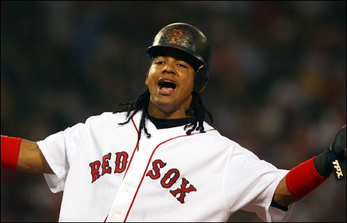 Manny Ramirez reacted after getting a single, but no RBI, as Kevin Youkilis (not pictured) was held at third base in the second inning.