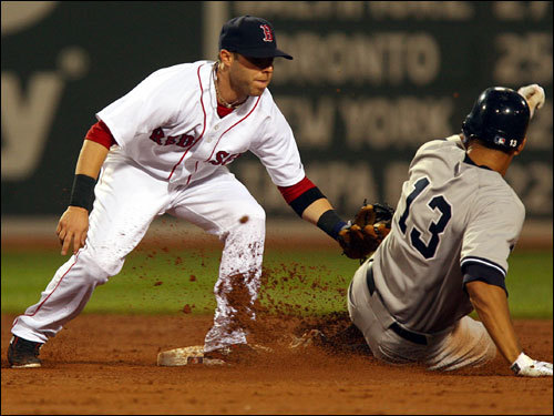 Red Sox second baseman Dustin Pedroia (left) tagged out Alex Rodriguez (right), who tried to stretch a single to a double in the third inning.