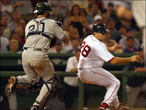 Red Sox catcher Doug Mirabelli was caught in a rundown between home and third and was tagged out by Yankees catcher Jorge Posada on a single by Julio Lugo in the third inning.