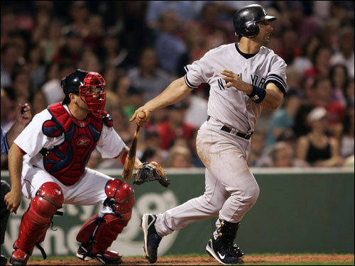 Yankees catcher Jorge Posada hit a double in the fourth inning.