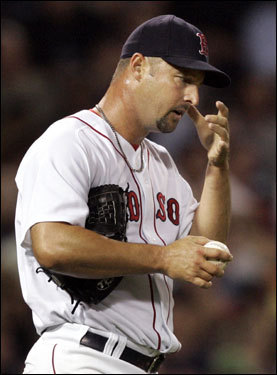 Tim Wakefield reacted after Josh Phelps (not pictured) scored on a passed ball.