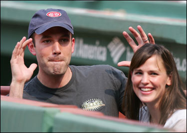 Ben Affleck and Jennifer Garner had fun watching the Red Sox-Yankees game on Saturday from owner John Henry's box.