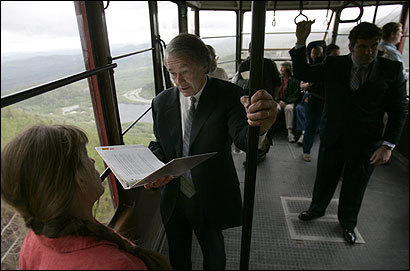 US Representative Edward J. Markey, who called the warming meeting on Cannon Mountain, rode the tram to the top of the mountain. Markey chairs a global warming panel.