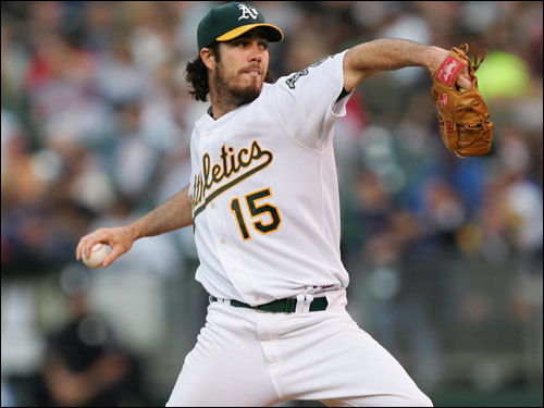 Dan Haren made the start for Oakland against the Red Sox. Haren's 1.64 ERA entering last night's game was best in the league.