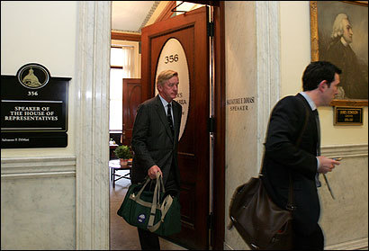 Former governor William F. Weld left the office of House Speaker Salvatore F. DiMasi yesterday after a meeting on a proposal for sale of state assets.