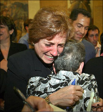 A proposed constitutional ban on same-sex marriage was swiftly defeated Thursday by a joint session of the Legislature by a vote of 151 to 45, eliminating any chance of getting it on the ballot in November 2008. At left, gay marriage advocate Arline Isaacson wept as she hugged Norma Shapiro of the American Civil Liberties Union after learning the results of the vote outside the House chamber.
