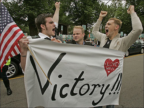 Greg Kimball, Alexander Westerhoff, and Brian O'Connor celebrated after the Legislature's decision on gay marriage.
