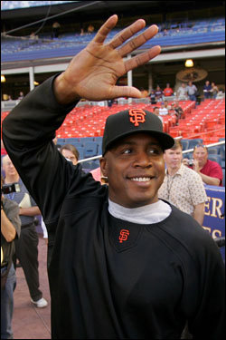The Red Sox play host to Barry Bonds -- the most controversial figure in all of baseball -- and the San Francisco Giants this weekend, in the middle of Bonds's quest to surpass Hank Aaron's career home runs record. If you're lucky enough to have tickets to one of the games, we've got a few ideas for you on how to greet Bonds in his Fenway Park debut. (By Ben Gellman-Chomsky, Boston.com)