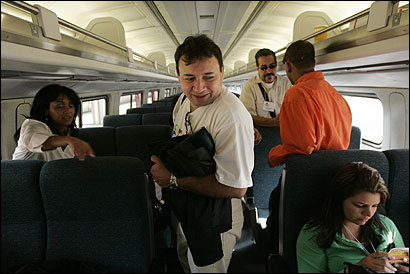 Carlos Chacon boarded a train headed to Washington, D.C., with other Boston-area immigrants at South Station. They plan to talk to officials about immigration reform.