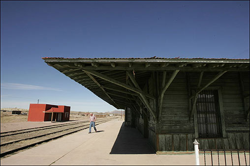 This train station near Colonia Juarez was built by Miles Park Romney. Mitt Romney's father, George, was among those who fled by train during the Mexican Revolution. But descendants of other Romneys, including Mike Romney, seen at left, live in the desert town. Gaskell and George visited Colonia Juarez on a sentimental trip in 1941. George's son, Mitt Romney, was born in 1947 and has never visited the town.