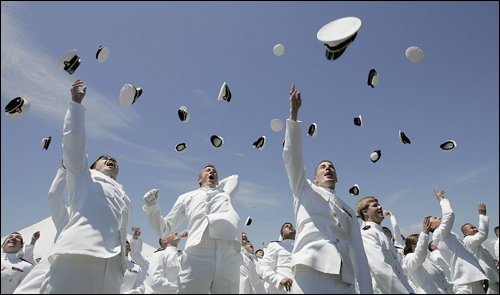 Graduates tossed their hats at the end of the 164th commencement at the Massachusetts Maritime Academy.