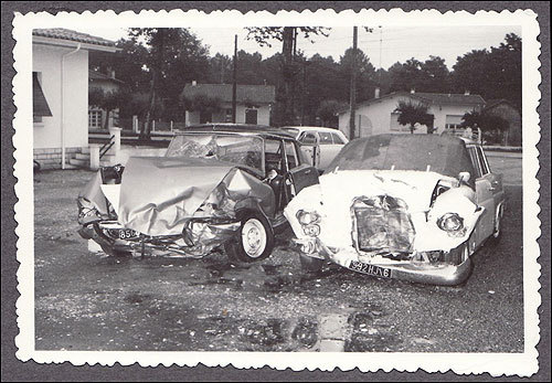 The car Mitt Romney was driving (left), a Citroen DS, was hit head-on by a Mercedes (right) driven by a priest. Romney's car was totaled, and all six occupants were injured, one fatally.