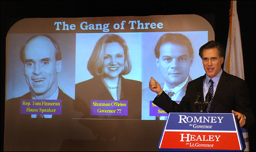 In the final days of his 2002 campaign, Romney reached for a tested Republican theme on his way to victory -- that a Republican governor was the only check on a Democratic political monopoly on Beacon Hill. His opponent, Shannon O'Brien, is flanked by the Democratic House Speaker, Thomas Finneran, and Senate President Robert Travaglini.