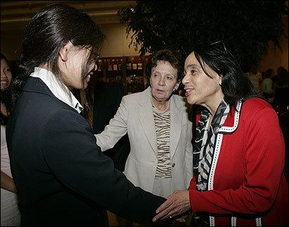 Carol Johnson (right) met recent Boston public school graduate Kristine Xue at Boston University with Cornelia Kelley, headmaster of Boston Latin School, by her side.