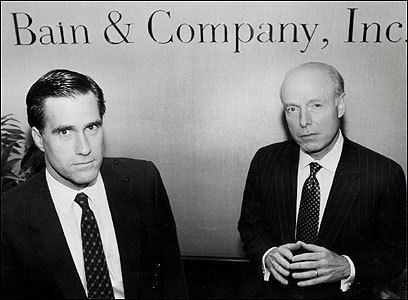 Bill Bain (right) with Romney in 1990 after announcing that Romney would return to Bain & Company to lead the then-struggling consulting firm and its turnaround. Romney had left Bain & Company in 1984 to launch the investment spinoff, Bain Capital. Romney used Bain Capital techniques to rescue the consulting firm.