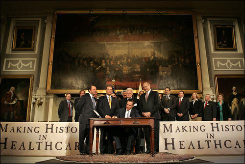 Romney signed the healthcare bill at an elaborate ceremony at Faneuil Hall, but he angered Democrats by vetoing eight sections of it, including a fee on employers that didn't provide health coverage for their workers. The move allowed him to take credit for a landmark law while washing his hands of something resembling a tax increase.