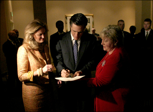 In the latter half of his term, Romney began frequently traveling out of state and building the foundation for his presidential campaign. His political trips, such as this one to Spartanburg, S.C. in February 2005, drew criticism from Democrats -- and even some Republicans -- that he was more focused on his political future than the state he was elected to govern.