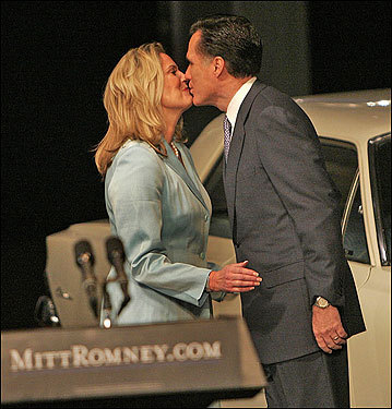 Romney and Ann shared a kiss after the announcement.