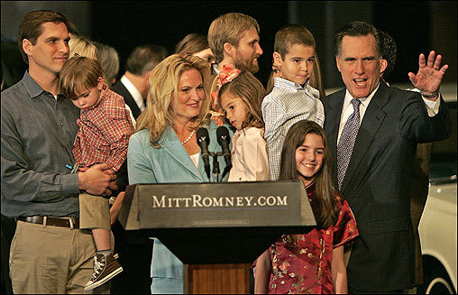 Romney's wife, Ann, and their children and grandchildren were by his side as he announced his candidacy.