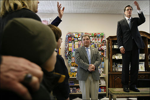 Romney visited the Hollis Pharmacy & General Store while campaigning for president in the Granite State. Owner Vahrij Manoukianis stood beside him.