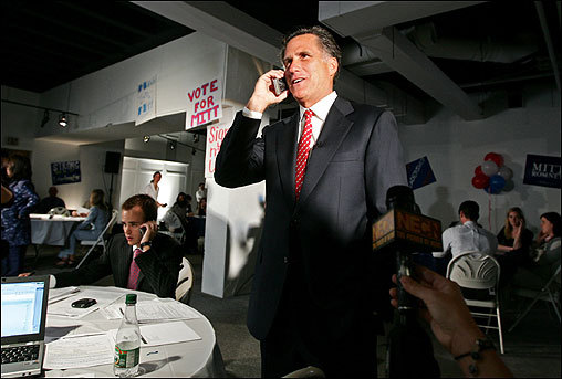 Romney talked on the phone May 16 from his campaign headquarters to a prospective supporter during his 'Sign Up America' National Call Day, a national grass-roots rally to sign up 24,000 Romney supporters in 24 hours.