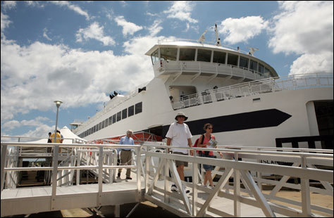 Visitors disembark from the Island Home, a new Woods Hole, Martha's Vineyard and Nantucket Steamship Authority ferry which started operating between Martha's Vineyard and Woods Hole in March 2007, replacing the Islander. Frommer's picks: Attractions, restaurants, lodging