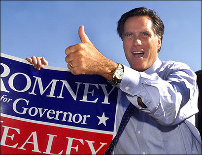 Mitt Romney greeted passing motorists on Morrissey Boulevard in Dorchester in Sept. 2002.
