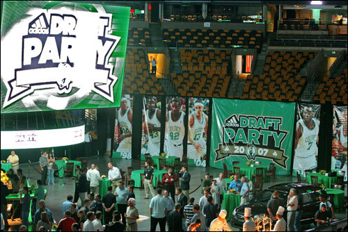 The Celtics invited season ticket holders to the TD Banknorth Garden for a draft night party Thursday. The C's gave attendees a lot to talk about, trading their No. 5 pick -- along with Delonte West and Wally Szczerbiak -- to the Sonics for Ray Allen.