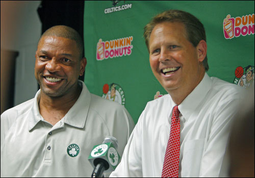 "Celtics director of basketball operations Danny Ainge and coach Doc Rivers met with the media last night after the trade. ""We think Ray Allen is a great player and has a lot of good basketball left in him,"" Ainge said. ""We had some concerns, but our medical staff checked them out. He'll be ready to go by training camp. It's really hard to add an All-Star caliber player."""