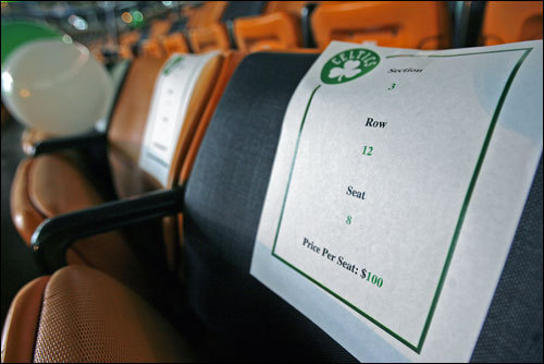 The Celtics hope that the arrival of Ray Allen will help sell some Garden seats, some of which were decorated with balloons and a sheet of paper that advertised their availability and price on Thursday night.
