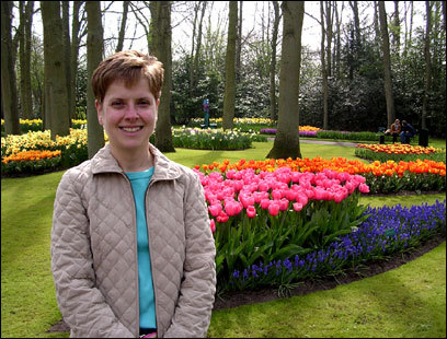 Amy Battis at Keukenhof gardens, home to millions of spring flowers.