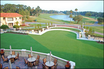 The view from the rear balcony of the $40 million clubhouse at TPC Sawgrass. The event lawn is large enough to hold four tennis courts. The lake in the distance runs along the 18th fairway.