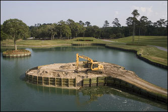 The island green of the 17th hole at the TPC Sawgrass during reconstruction. Some 22 miles of underground pipe and more than 26,000 tons of sand were used in the course renovation, which was completed for the 2007 Players Championship.