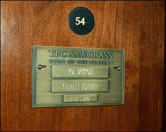 A personalized nameplate in the locker room is part of the PGA Tour Player Experience at TPC Sawgrass. Charley Hoffman, the winner of the 2007 Bob Hope Chrysler Classic, is the PGA Tour player whose locker we borrowed for the day.