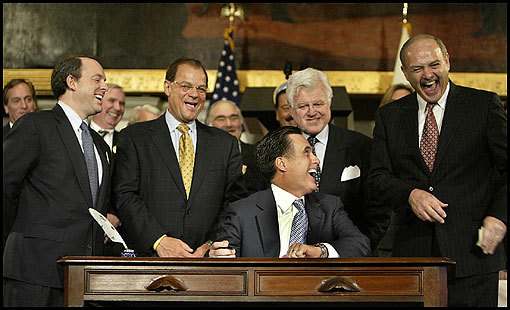The landmark universal health care bill that Mitt Romney signed into law in April 2006 showcased him in all his complexity: It illustrated his willingness to attack an intractable problem in a creative way, but also exposed him to criticism that he was more concerned about his political career than making sure the delicate compromise held.