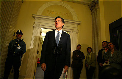 Governor Mitt Romney addressed the media at the State House after announcing that he is in favor of President Bush's call for a constitutional amendment to ban same-sex marriages.