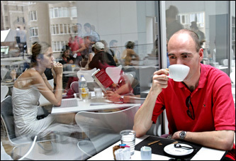 John Hayen of Germany enjoyed a cup of java at MoMA's Terrace 5. The delightful cafe is an airy, open space, part of which is a dining balcony.