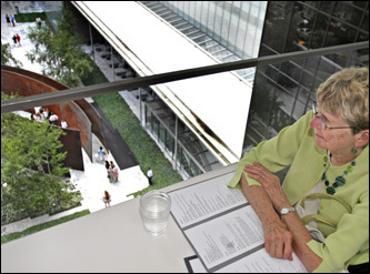 Anne Arnesen of Madison, Wis., took in the view from MoMA's Terrace 5. It overlooks MoMA's courtyard from five flights up.