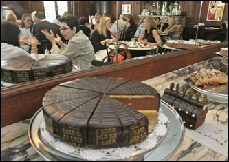 Trays of Viennese pastry are displayed at Cafe Sabarsky in the Neue Galerie.