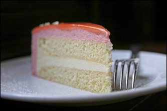 The Van Gogh torte (rhubarb mousse and elderflower Bavarian cream) is a popular dessert at Cafe Sabarsky.