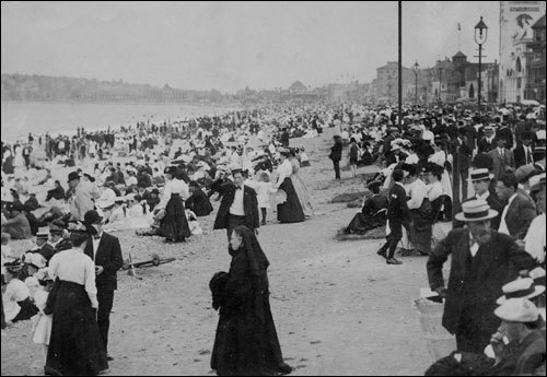 Revere Beach was the first public beach in the country. At left, beachgoers enjoyed the sand and surf on Aug. 21, 1906.